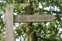 Public Bridleway Sign. Stock Photo