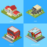 Public Building Poster Card Set Isometric View. Vector. Public Building Bank, Cafe, Supermarket and Cinema in City Poster Card Set Isometric View. Vector Royalty Free Stock Photo
