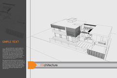 Public building on drawing table Royalty Free Stock Photos