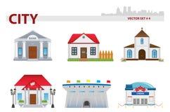 Public building. Set 4. Public building cartoon. Set 4 Royalty Free Stock Photo
