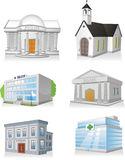 Public building set 3. Public building cartoon set  illustrations Stock Photos
