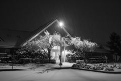 Public Building at winter snowfall Royalty Free Stock Photos