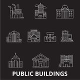 Public buildings editable line icons vector set on black background. Public buildings white outline illustrations, signs vector illustration