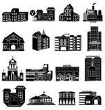 Public buildings icons set. In black Stock Photos