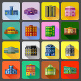 Public buildings icons set, flat style Royalty Free Stock Photography
