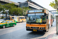 Public bus from a Bangkok MRT station to Don Mueang Internationa Royalty Free Stock Image