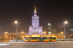 Public bus in front of Palace of Culture and Science. Royalty Free Stock Image