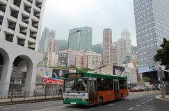 A public bus on one street in Hong Kong Royalty Free Stock Image