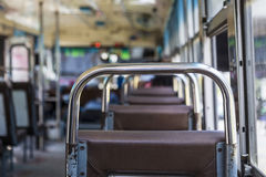 In public bus. Scene inside of empty public omnibus, bangkok Thailand Royalty Free Stock Photography