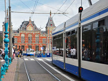 Public Buses at Central Station, Amsterdam. Travel by public bus is popular in Amsterdam Royalty Free Stock Image