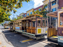 Public cable cars in San Francisco streets Royalty Free Stock Photo