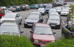 Public car park. Section of a public pay & display car park stock photos