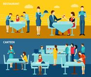 Public catering 2 flat horizontal banners Stock Image