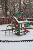 Public Children Playing Ground  in Winter with Snow Royalty Free Stock Image
