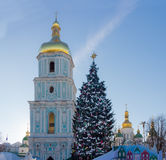 Public Christmas trees and domes of the cathedral Royalty Free Stock Photography