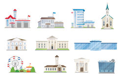 Public city buildings vector set. On white Stock Photography