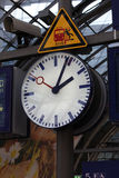 Public clock In a railway station Royalty Free Stock Photo