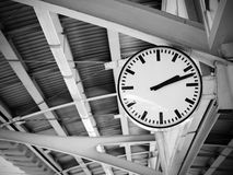 Public clock in railway station Royalty Free Stock Photos