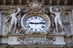 Public clock at railway station Stock Images