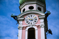 Public clock tower with blue sky Royalty Free Stock Photos