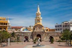 Public Clock Tower and Peace Square. In Cartagena de Indias seen from El Camellon de los Martires Stock Images