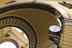 Public Clocks. Old-style public clocks under the General Army Staff Building Arch in Saint Petersburg, Russia stock photography