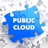 Public Cloud on Blue Puzzle. Public Cloud on Blue Puzzle on White Background Stock Photography