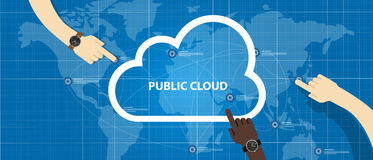 Public cloud within a company icon of global data store hand managing Royalty Free Stock Image