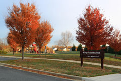 Public Community Park. Typical public park built with planned community in Autumn with colorful foliage, and playground. M-NCPPC, The Maryland-National Capital Stock Photography
