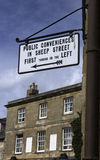 Public conveniences sign. Old sign for public conveniences in Sheep Street Stock Photography