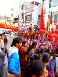 Public crowd in religious procession in the streets of Ujjain during simhasth maha kumbh mela 2016, India Royalty Free Stock Images