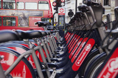 Public cycles on the street of London, an ecologic transport. Stock Images