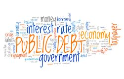 Public debt. National economy financial crisis word collage Royalty Free Stock Photos