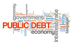 Public debt. National economy financial crisis word collage Stock Photography