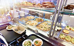 Public dining counter. With food stock photography
