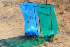 Public disposable recycling and trash bins Royalty Free Stock Photos