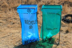Public disposable recycling and trash bins Royalty Free Stock Photo