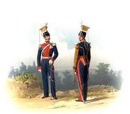 An old picture of the Officers and soldiers of the Russian Empire. Royalty Free Stock Photography