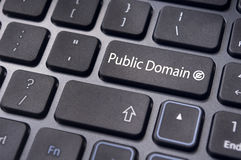 Public domain concepts. Message on keyboard enter key, to illustrate the concepts of public domain royalty free stock photos