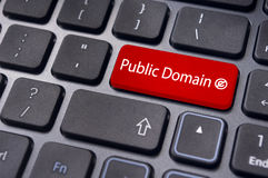 Public domain concepts. Message on keyboard enter key, to illustrate the concepts of public domain Royalty Free Stock Photo