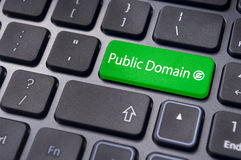 Public domain concepts. Message on keyboard enter key, to illustrate the concepts of public domain stock photography