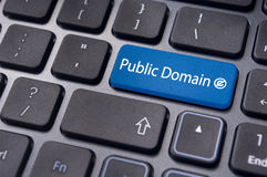 Public domain concepts. Message on keyboard enter key, to illustrate the concepts of public domain Royalty Free Stock Image