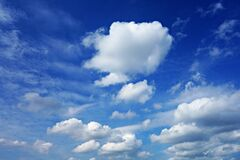 PUBLIC DOMAIN DEDICATION PP - digionbew 9. 19-06-16 Clouds in blue skies LOW RES DSC01179 Stock Photos