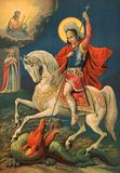 Icon of the great Martyr St. George the victorious. Royalty Free Stock Images