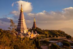Landscape two pagoda at doi Inthanon national park , chiang mai ,Thailand, Royalty Free Stock Photos
