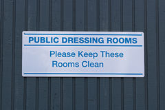 Public dressing rooms, please keep them clean sign Stock Image