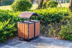 Public dustbin on garbage can Stock Images