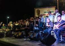Public Education Center Classical Music Choir. Turkish classical music choir founded by the Golcuk city public education center performing at night in a small Stock Photo