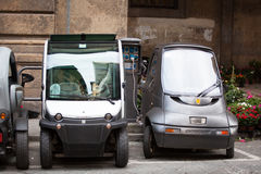Public electric car recharging Stock Image