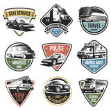 Public And Emergency Transport Logos Set. Of various services with different vehicles on white background  vector illustration Stock Image